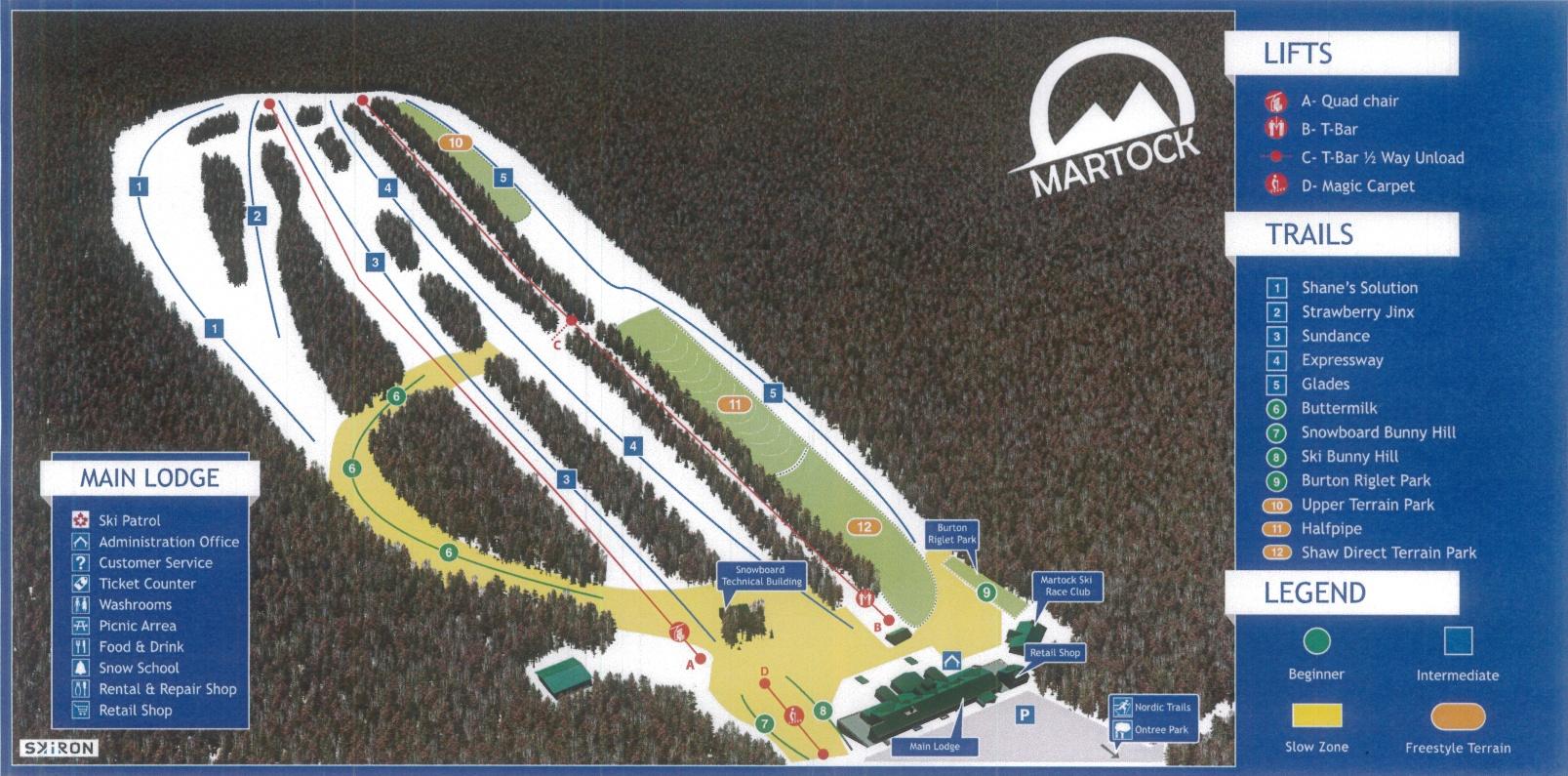Alpine Trail Map at Ski Martock NS