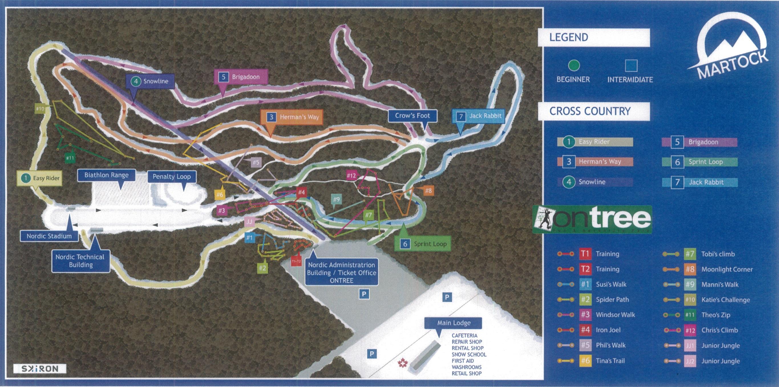 Nordic Trail Map at Ski Martock NS